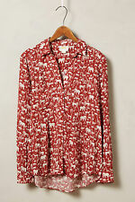 Anthropologie Casia Henley Size 2, Red Safari Animal Print Top Blouse By Maeve