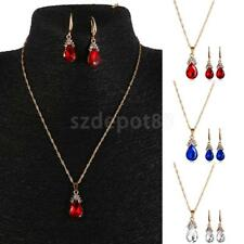 Party Gold Tone Teardrop Rhinestone Pendant Chain Dangle Necklace Earrings Set