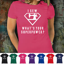 Womens Funny T-Shirt Humor for Mothers Day Christmas Wife Superhero Fan - Sewing