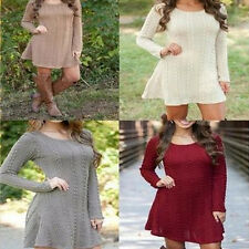 Fashion Women's Long Sleeve A-Line Knitted Jumper Tunic Sweater Dress 5 Colors