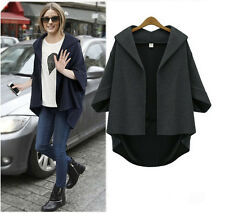 Women Lady Batwing Long 3/4 Sleeve Woolen Jacket Coat Winter Casual Outwear