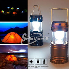 Collapsible Solar Outdoor Rechargeable Camping Lantern Light 6 LED Hand Lamp