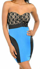 Dress Blue Lace Cocktail S M Strapless Tube Stretch New Sexy Club Mini Bodycon