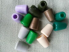 6x Plastic Bell Shape Cord Ends Stoppers Various Colours