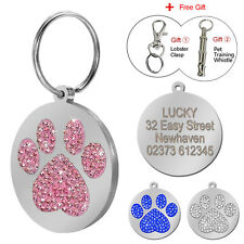 Bling Paw Print Rhinestone Engraved Dog Tags Cat Pet ID Tags Personalized Free