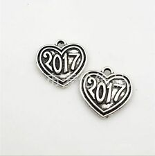 "20/100pcs Tibetan Silver Lucky digital ""2017"" Charms Heart Words Pendant 17x17mm"