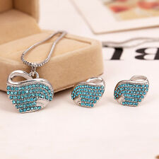 New Pretty Beautiful Womens Fashion Silver Heart Earring Necklace Jewelry Sets