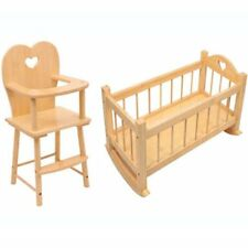 Set Of Dolls Wooden Rocking Cradle Cot Bed Feeding High Chair Toy Girl Play Gift