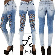 Womens Sexy Blue Acid Wash Skinny Fit Jeans Faded Denim Pants Size UK 6-14