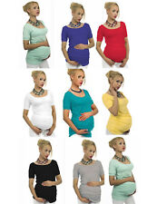 """Maternity Short sleeve T-Shirt Tunic Blouse Top Belly Pregnancy Stretch """"Sonia"""""""