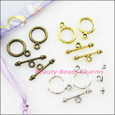 30Set Tibetan Silver Gold Bronze Smooth Circle Bracelet Toggle Clasps Connector