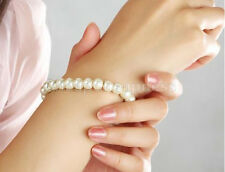 Womens Elegant Glossy 8mm Faux Pearl Beads Stretch Bracelet Bangle Wedding   SN