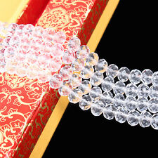 Clear Rondelle Faceted Crystal Glass Spacer Bead Jewelry Finding 46/8/10 MM DIY