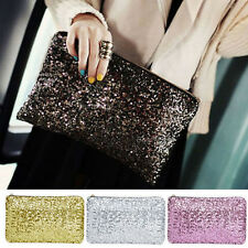 Glitter Sparkling Sequins Dazzling Clutch Evening Party Bag Handbag Bling PurseP
