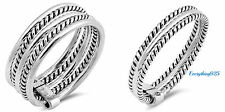 Sterling Silver 925 ROPE DESIGN SILVER WEDDING BAND RINGS SIZES 5-10