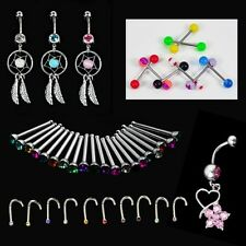 Crystal Catcher Navel Dangle Barbell Nose Tongue Belly Bar Ring Body CYBD