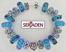 Sea Blue's Teal Aqua Bead Antique Sapphire Spacers Charm Serjaden Bracelet #024