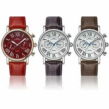 Fashion Leather Analog Two or Three Eyes Quartz Sport Business Wrist Watch DS
