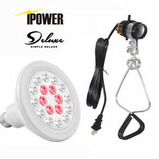 iPower Waterproof LED Grow Light Bulb 12 24W,6 Red 12 White LEDs with Clamp Lamp