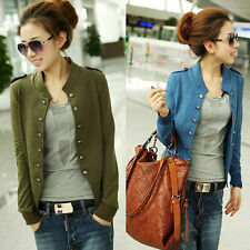 Women Fashion Cotton Double-Breasted Jacket Outerwear Short Jacket Coat Tops