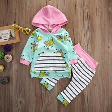 Baby Girl 2pcs Set Outfit Flower Print Hoodie with Pocket Top+Striped Long Pants