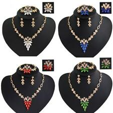 Elegant Crystal Ruby Sapphire Jewelry Necklace Earring Set Wedding Bride Lady