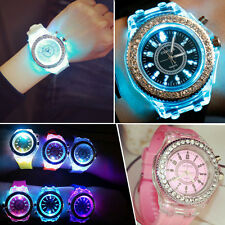 Luxury LED Digital Backlight White Silicone Analog Quartz Women Wrist Watch New