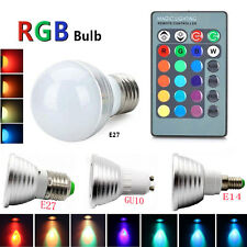 GU10 E27 E14 3W RGB LED Bulb Remote Control 16 Color Changing Dimmable Light