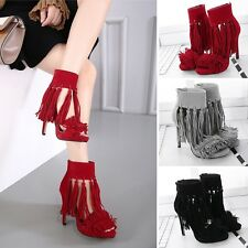 Sexy Ankle Strap Sandal Solid Stiletto Tassels High Heel Zip Pretty Womens Shoes