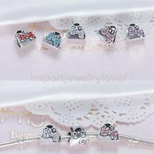 5pcs Crystal Bow Hangbag Design Charms Bracelet Pendant Jewelry Findings