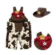 Baby cowboy romper costume infant toddler boy girl clothing set 3pcs hat +sca...