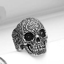 Ghost Jewelry 7-13 Stylish Skull Ring Fashion Punk Floral 316l Steel Stainless