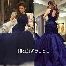 Luxury Navy Blue Rhinestones Evening Dresses Cocktail Party Trumpet Custom Gowns