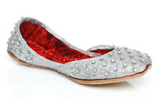 UNZE GWYN' KIDS LEATHER TRADITIONAL INDIAN KHUSSA PUMPS SIZE UK 1 - 13 SILVER