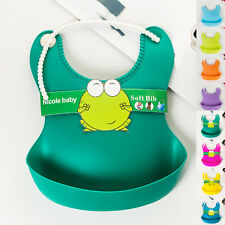 Baby Aprons Infant Waterproof Silicone Feeding Lunch Bibs Saliva Unisex Kids New