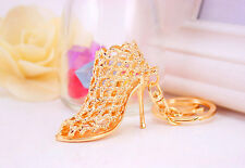 Crystal Shoe High Heel Keyring Charm Pendant Key Bag Chain Ring Keychain