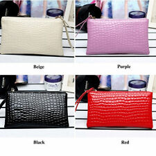 Fashion Women Lady Crocodile Leather Clutch Bag Coin Purse Card Holder Handbag