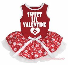 Sweet LIL Valentine Heart Red Cotton Top Snowflake Skirt Cat Pet Dog Puppy Dress