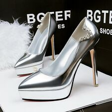 Solid Womens Platform High Heels Pumps Pointed Toe Shiny Stilettos OL Sexy Shoes