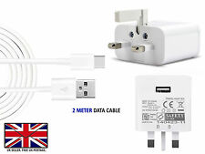 Fast Adpative UK Wall Charger & USB Type C 3.1 Data Transfer Sync Cable Lead