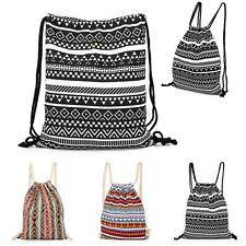String Drawstring Backpack Cinch Sack Gym Tote Bag Canvas School Sports Pack New