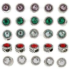 5X Silver Plated Two Sided Crystal Round Beads Charm Fit European DIY Bracelet