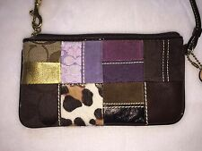 COACH Limited Edition Holiday Patchwork Signature Wristlet Leather Suede Bag