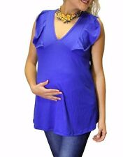 Blue Solid Ruffles New Sleeveless Pregnancy Maternity Top Made in USA S M L XL