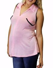 Light Pink Faux pocket Sleeveless Pregnancy Maternity Top Made in USA S M L XL
