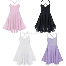 Kid Girl Gymnastics Ballet Sleeveless Shiny Dancer Dress Bowknot Leotard Skirt