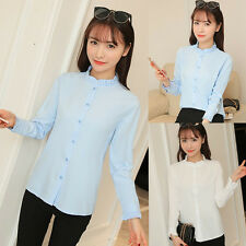 Elegant Womens Stand Collar Lace Blouse Slim Long Sleeve Button Down Shirt Tops