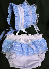 Adult Baby Sissy Littles ~ Baby Love BLUE Bonnet & Diaper Cover Set ~ Dress Up