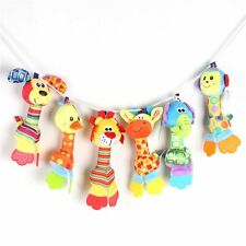 Stroll Gifts Teether Rattle Animal Hand Bell Squeaker Sounder Baby Plush Toy