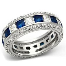 Sterling Silver Simulated Blue Sapphire Eternity Anniversity Wedding Band Ring
